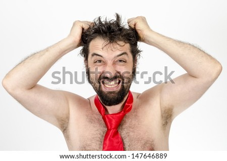 Bankrupt businessman, but with the tie - Isolated on white / Bankrupt businessman letting out frustration by grabbing his head and screaming off the top of his lungs
