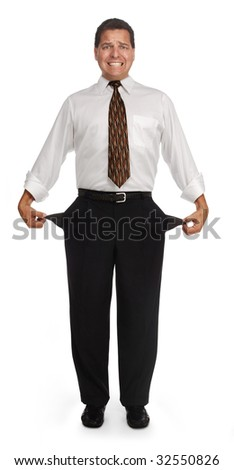 Bankrupt man showing empty pockets on a white background. clipping path included. - stock photo