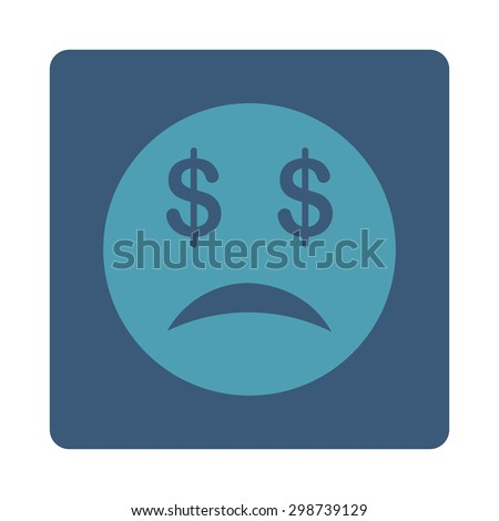 Bankrupt Smiley icon from Commerce Buttons OverColor Set. Glyph style is cyan and blue colors, flat square rounded button, white background.