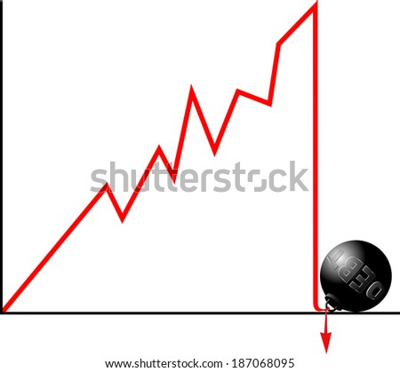 Bankruptcy because of debt concept.  Crashed down graph fastened to weight symbolizing debt.  - stock photo