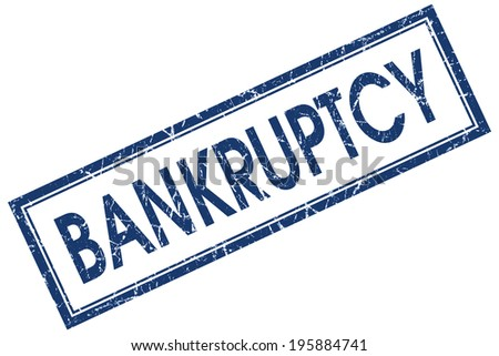 Bankruptcy blue square grungy stamp isolated on white background - stock photo