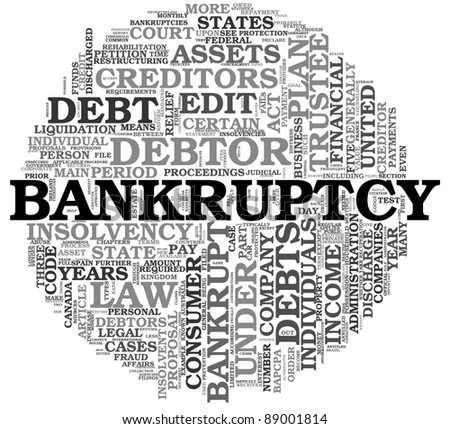 Bankruptcy concept in word tag cloud on white background - stock photo