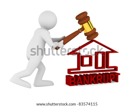 Bankruptcy on white. Isolated 3D image - stock photo