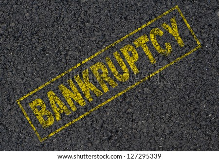 Bankruptcy sign background - stock photo