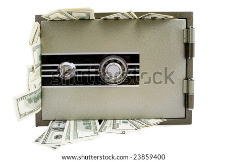 Banks safe whole of hundred dollars banknotes isolated on white