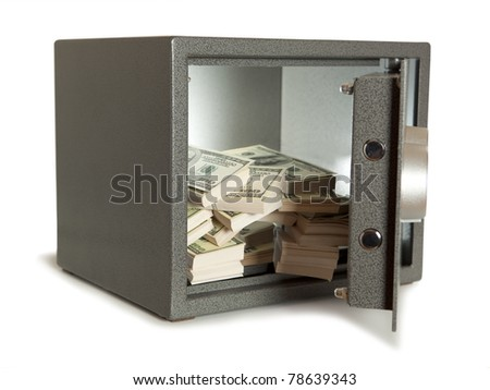 Banks safe with open door - stock photo