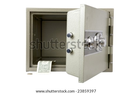 Banks safe with open door almost without money - stock photo