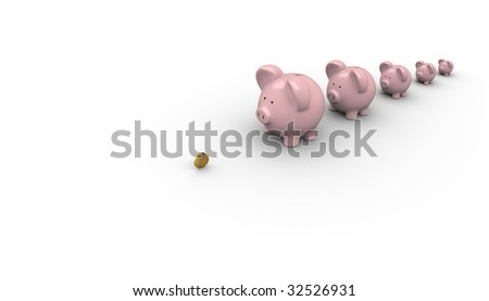 Banks waiting in a line for money - stock photo
