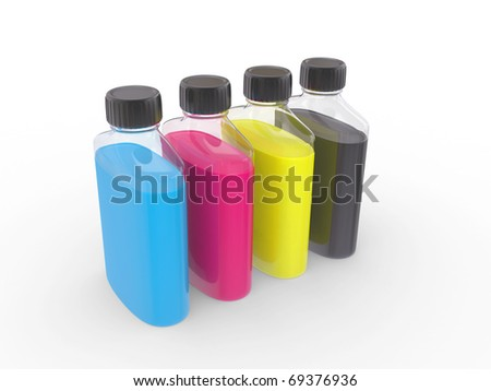 banks with  paints of CMYK colors on a white background