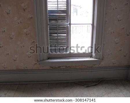 Bannack Ghost Town, old window - stock photo
