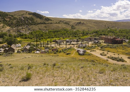 BANNACK, MONTANA, USA - AUGUST 2004: Ghost town, in old gold mining settlement, Bannack State Park. - stock photo
