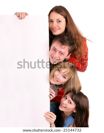 Banner and four young adult. Isolated. - stock photo