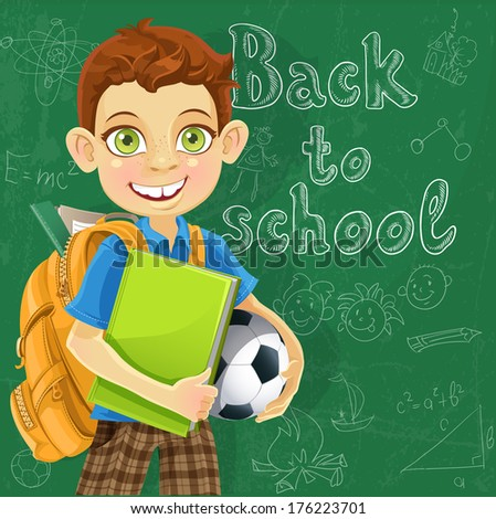 Banner Back to school - boy with backpack at the board ready to learn - stock photo