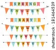 Banner, bunting or swag templates for scrapbooking  parties, spring, Easter, baby showers and sales, on transparent background, in vector format - stock vector