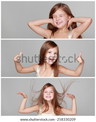 Banner collage of joyful emotional little girl with long hair jumping and dancing  - stock photo