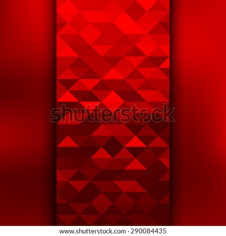 Banner design. Abstract template background with red triangle shapes. - stock photo