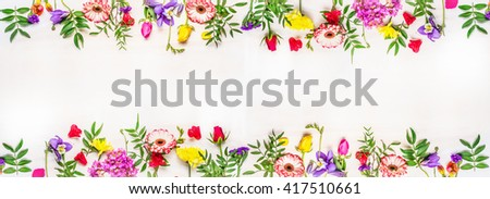 banner for the web site, various multicolored spring flowers, space for text, top view