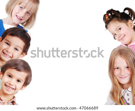 Banner for your text or picture with 6 children - stock photo