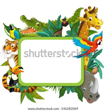 Banner - frame - border - jungle safari theme - illustration for the children - stock photo