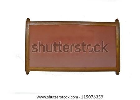 Banner made ??of wood on a white background. - stock photo