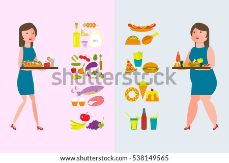 Banner Make your choice between Healthy and Fatty Food. Fat and thin women with lunch tray.