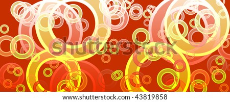 banner of multicolored circles on a green background - stock photo