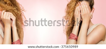 Banner orientation image of a a woman in two poses covering her face. Unrecognizable woman over pink background. Ignorance concept. - stock photo