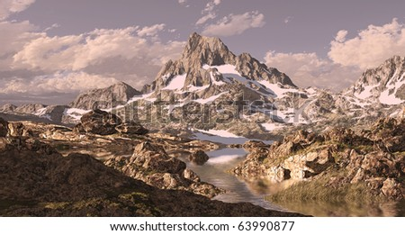 Banner Peak in Sierra Nevada mountain high country with lake. - stock photo