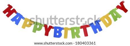 Banner spelling Happy Birthday on white background - stock photo