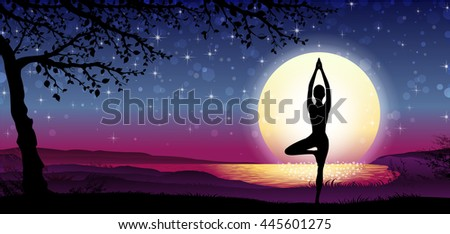 Banner Vertical Silhouette Meditation with Nature and Sun on Background - stock photo
