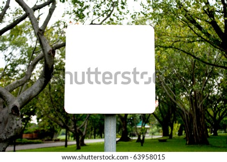 Banner white background square in the park. - stock photo