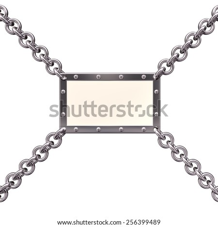 Banner with attached four stainless steel chains - stock photo