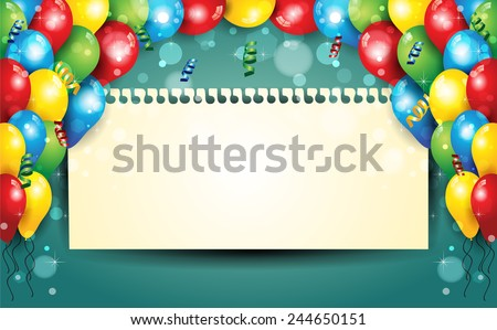 Banner with balloons and confetti sheet where you enter your text - stock photo