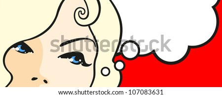 Banner with female eyes and thinking bubble (raster version) - stock photo
