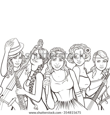 banner with female music group in retro style - stock photo