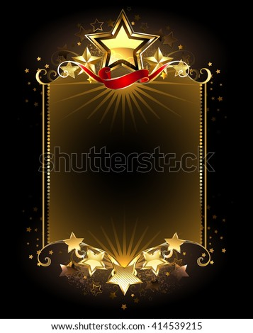 banner with five gold stars on a dark background. Design with stars. Golden Star. Five Stars  - stock photo