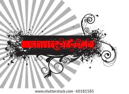 Banner with grunge and floral element in front of gray star