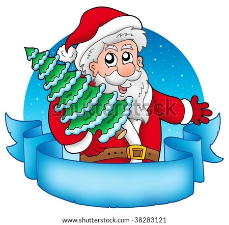 Banner with Santa holding tree - color illustration.