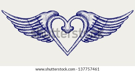 Banner with wings. Doodle style. Raster version - stock photo