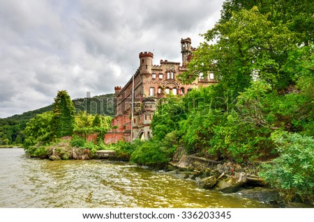 Bannerman Castle Armory on Pollepel Island in the Hudson River, New York. - stock photo