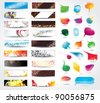 Banners and bubbles for speech on different topics - stock photo