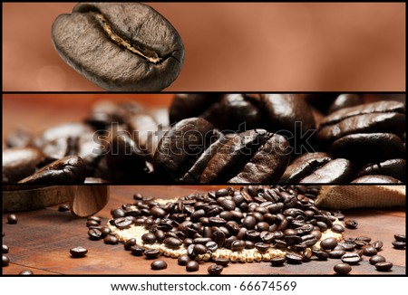 Banners - Coffee. Shallow depth of field. - stock photo