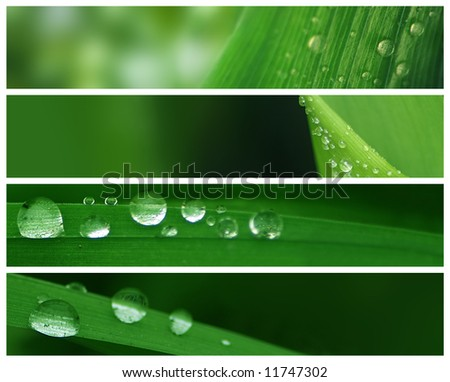 Banners - Natural Water Drops - stock photo