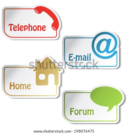 banners - phone, email, home, forum,  menu item, navigation - stock photo