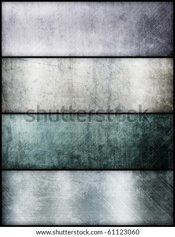 Banners set of metal texture - stock photo