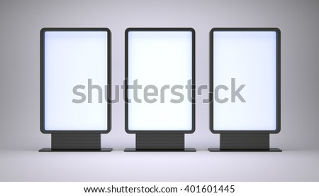 Banners with blank screen on white background. 3D rendering - stock photo