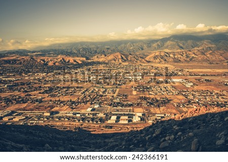 Banning California Panorama and San Bernardino Mountains at Sunset. Banning is a City in Riverside County, California, United States - stock photo