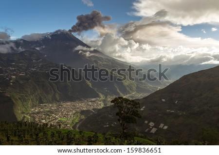 BANOS DE AGUA SANTA - POPULAR DESTINATION IN ECUADOR, SOUTH AMERICA  - stock photo