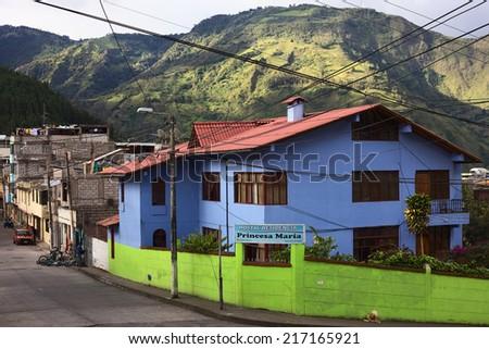 BANOS, ECUADOR - AUGUST 1, 2014: Hostal Residencia Princesa Maria at the corner of Vicente Rocafuerte and Juan Leon Mera streets on August 1, 2014 in Banos, Ecuador - stock photo