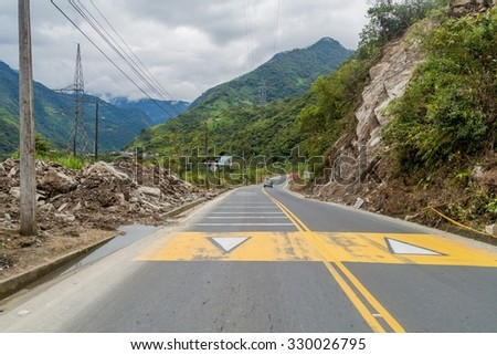 BANOS, ECUADOR - JUNE 22, 2015: View of the road Banos - Puyo, Ecuador - stock photo